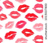 red print kiss lip mark... | Shutterstock . vector #1015037800