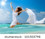 beautiful girl jumping on the...   Shutterstock . vector #101503798