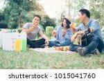 young teen groups having fun...   Shutterstock . vector #1015041760