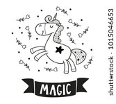 cute happy unicorn  poster for... | Shutterstock .eps vector #1015046653