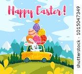 stock vector happy easter bunny | Shutterstock .eps vector #1015047349