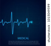 cardiology concept with pulse... | Shutterstock .eps vector #1015049599