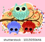 happy family of owls on... | Shutterstock .eps vector #1015050646