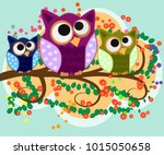 happy family of owls on... | Shutterstock .eps vector #1015050658