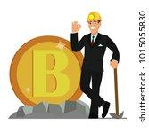 bitcoin and blockchain... | Shutterstock .eps vector #1015055830