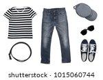 isolated top view of men... | Shutterstock . vector #1015060744
