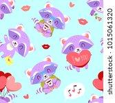 vector raccoon with heart... | Shutterstock .eps vector #1015061320
