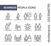 business people icons set... | Shutterstock .eps vector #1015068790