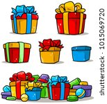 cartoon colored presents and... | Shutterstock .eps vector #1015069720