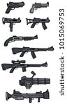 cartoon black and white guns ... | Shutterstock .eps vector #1015069753