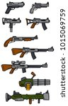 cartoon guns  rifles ... | Shutterstock .eps vector #1015069759