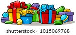 cartoon colored presents and... | Shutterstock .eps vector #1015069768