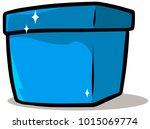 cartoon shiny blue present gift ... | Shutterstock .eps vector #1015069774