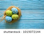 painted easter eggs in the nest ... | Shutterstock . vector #1015072144