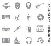 rock music icons. gray flat... | Shutterstock .eps vector #1015075408