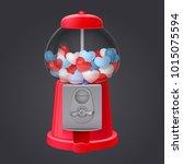 classic red gumball vending... | Shutterstock .eps vector #1015075594