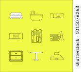 furniture linear icon set.... | Shutterstock .eps vector #1015076263