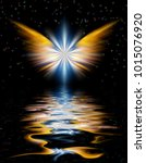 shining angel wings above water ... | Shutterstock . vector #1015076920