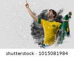 brazilian soccer player coming... | Shutterstock . vector #1015081984