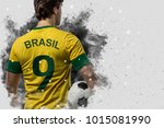 brazilian soccer player coming... | Shutterstock . vector #1015081990