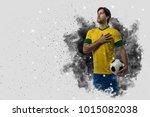 brazilian soccer player coming... | Shutterstock . vector #1015082038