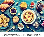 top view of a wood table full... | Shutterstock . vector #1015084456