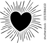 heart with sun ray  hand drawn ... | Shutterstock .eps vector #1015086610
