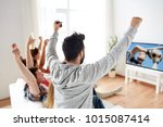 friendship  leisure and people... | Shutterstock . vector #1015087414