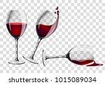 vector illustration  wine glass ... | Shutterstock .eps vector #1015089034