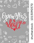 hand drawn poster with love... | Shutterstock .eps vector #1015090570