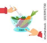 vegetables on the kitchen... | Shutterstock .eps vector #1015092730