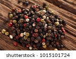 mixed peppercorns. dry mix... | Shutterstock . vector #1015101724