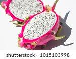 dragon fruit isolated on white... | Shutterstock . vector #1015103998