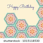 cute birthday card with... | Shutterstock .eps vector #1015118530