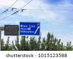 traffic sign of direction to 1... | Shutterstock . vector #1015123588