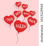 heart balloons in the air with... | Shutterstock .eps vector #1015129543