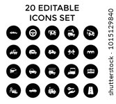 car icons. set of 20 editable...