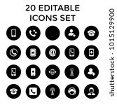 contact icons. set of 20... | Shutterstock .eps vector #1015129900