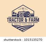 tractor logo or farm logo... | Shutterstock .eps vector #1015135270