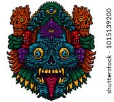 indonesian bali mask.... | Shutterstock .eps vector #1015139200