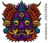 indonesian bali mask.... | Shutterstock .eps vector #1015139206