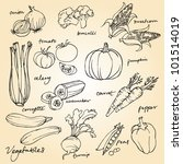 set of vegetables doodles vector | Shutterstock .eps vector #101514019