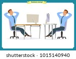 set of young male businessman.... | Shutterstock .eps vector #1015140940