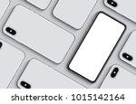smartphones mockup top view... | Shutterstock . vector #1015142164
