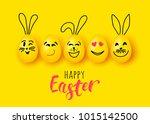 easter eggs and rabbit funny... | Shutterstock .eps vector #1015142500