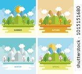 seasonal weather set landscapes | Shutterstock .eps vector #1015151680