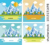 seasonal weather set landscapes | Shutterstock .eps vector #1015151698