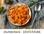 savory homemade sauteed carrots ... | Shutterstock . vector #1015153186