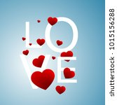 red hearts greeting postcard on ... | Shutterstock .eps vector #1015156288