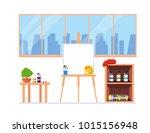 painter artist workshop room... | Shutterstock .eps vector #1015156948